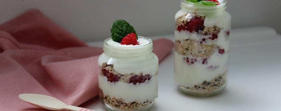 Jogurtovo-malinové pohárky