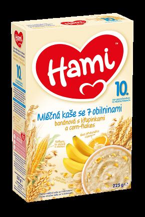 Hami mléčná kaše se 7 obilninami banánová s křupinkami a corn-flakes od uk. 10 měsíce