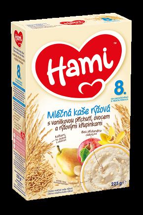Hami mléčná kaše rýžová s vanilkovou příchutí, ovocem a rýžovými křupinkami od uk. 8. měsíce