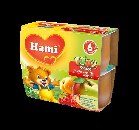 Hami 100% ovoce jablko, meruňka a jahoda od uk. 6. měsíce