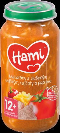 Hami příkrm Makaróny s dušeným vepřovým, rajčaty a paprikou od uk. 12. měsíce