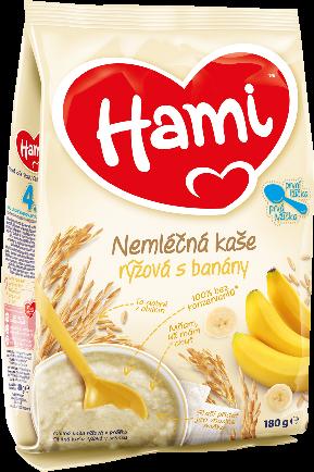Hami nemléčná kaše rýžová s banány první lžička