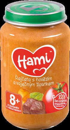 Hami příkrm Rajčata s hovězím a vaječným žloutkem od uk. 8. měsíce