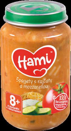 Hami příkrm Špagety s rajčaty a mozzarellou od uk. 8. měsíce