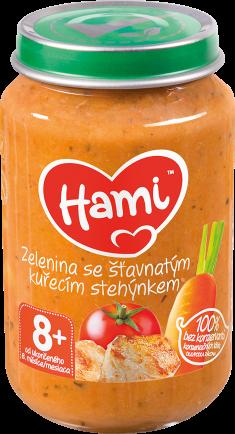 Hami příkrm Zelenina se šťavnatým kuřecím stehýnkem od uk. 8. měsíce