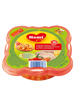 Hami talířek těstoviny s dušenou kýtou a rajčaty od uk. 12. měsíce